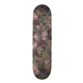 Flowers, leafs, and camouflage skateboard