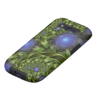 Flowers Leaves Abstract Blue Green Fractal Galaxy SIII Covers