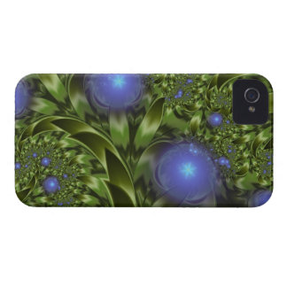 Flowers Leaves Abstract Blue Green Fractal iPhone 4 Cover