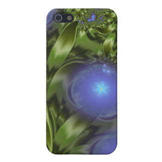Flowers Leaves Abstract Blue Green Fractal Cover For iPhone 5