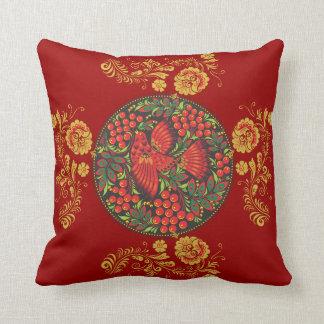 Flowers, Leaves, & Bird - Russian Folk Art Pillow