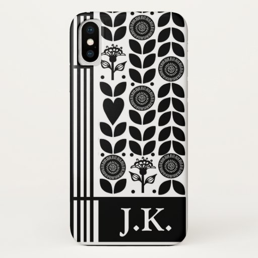 Flowers Leaves Black and White Ornate Personalised iPhone X Case