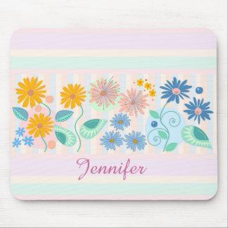 Flowers, Leaves, Circles, stripes & custom Name Mouse Pad