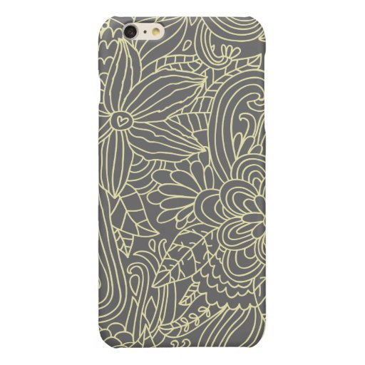 FLOWERS & LEAVES PATTERN GLOSSY iPhone 6 PLUS CASE