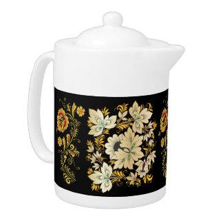 Flowers & Leaves - Russian Folk Art 2 Teapot