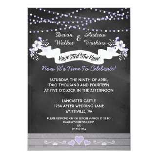 flowers lights chalkboard post wedding invite - Post Wedding Reception Invitation Wording