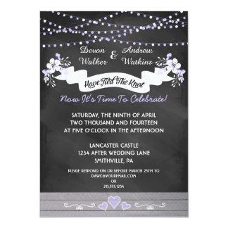 "Flowers & Lights Chalkboard Post Wedding Invite 4.5"" X 6.25"" Invitation Card"