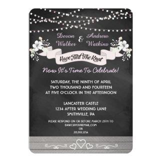 "Flowers & Lights Chalkboard Post Wedding Invite 5"" X 7"" Invitation Card"