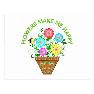 Flowers Make Me Happy Postcard