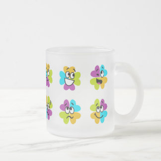 Flowers Making Funny Faces Glass Mug