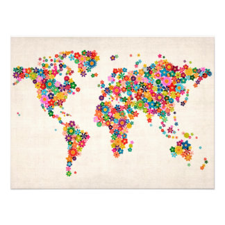 Flowers Map of the World Map Art Photo