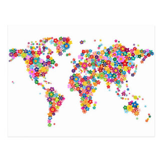 Flowers Map of the World Map Postcard