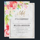 """Flowers &amp; Marble   Gold Surprise Birthday Party Card<br><div class=""""desc"""">Personalize these Flowers &amp; Marble   Gold Surprise Birthday Party invitations by Eugene Designs. These &quot;Shhh... it&#39;s a surprise!&quot; birthday party invitations feature a classic white marble background with an elegant gold border, watercolor floral display, stylish faux gold foil &quot;shhh... &quot; script and a modern birthday party typography template. Choose...</div>"""