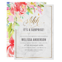 Flowers & Marble | Gold Surprise Birthday Party Card