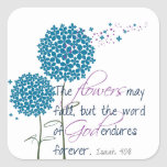 Flowers may fall... square sticker