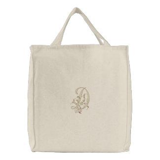 Flowers Monogram Letter D Tote Bag