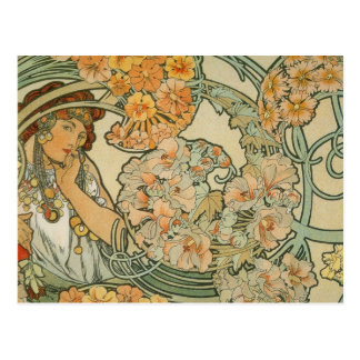 Flowers, Mucha Postcard