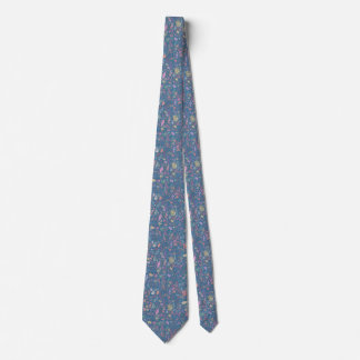 Flowers multicoloured smooth watercolors tie