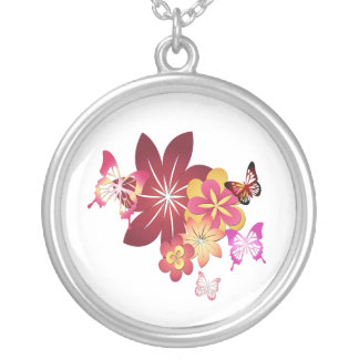 Flowers n Butterflies Silver Plated Necklace
