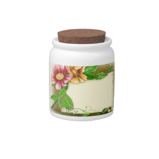 Flowers Name Tag Candy Jars