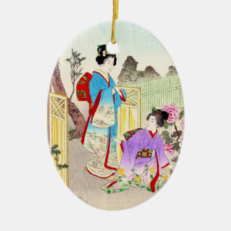 Flowers of Floating World, Viewing a Peony Garden Ceramic Ornament