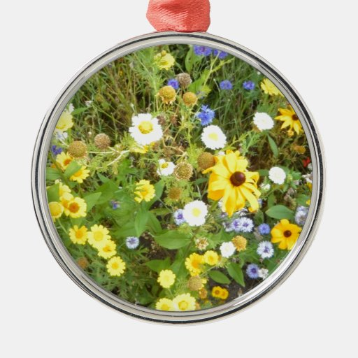 Flowers of Flowers Round Metal Christmas Ornament