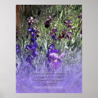 Flowers of One Garden Baha'i Iris Poster