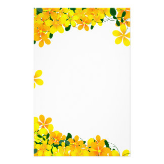 Flowers of Orange & Yellow Border Stationery