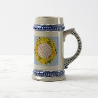 Flowers of Orange & Yellow Frame on Light Blue 18 Oz Beer Stein