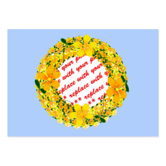 Flowers of Orange & Yellow Frame on Light Blue Large Business Cards (Pack Of 100)
