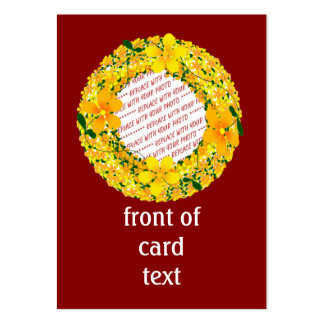 Flowers of Orange & Yellow Frame On Red Background Large Business Cards (Pack Of 100)