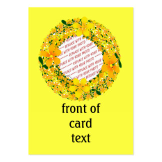 Flowers of Orange & Yellow Frame on Yellow Large Business Cards (Pack Of 100)
