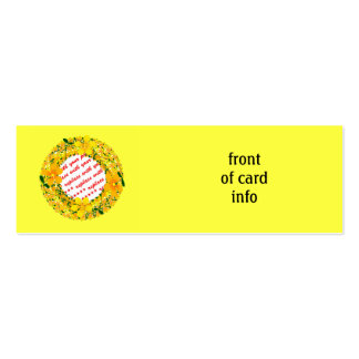 Flowers of Orange & Yellow Frame on Yellow Double-Sided Mini Business Cards (Pack Of 20)