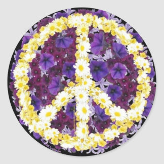 flowers of peace classic round sticker