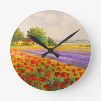 Flowers of Provence Round Clock