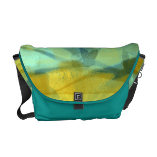 Flowers of silk in yellow and turquoise courier bag