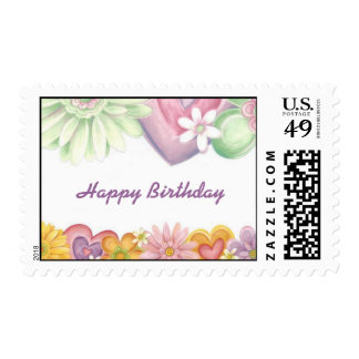 Flowers of Time-Happy Birthday Postage Stamp