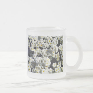 Flowers of White Frosted Glass Coffee Mug