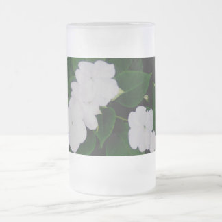 Flowers of White, Leaves of Green Frosted Glass Beer Mug