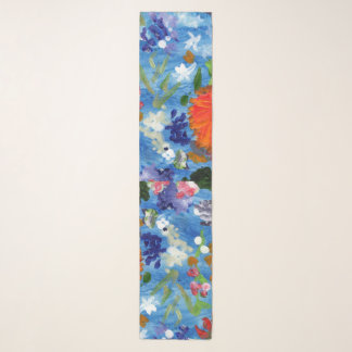 Flowers on a blue background scarf