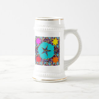Flowers on a multi background beer stein