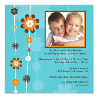 Flowers on a String Photo Invitation