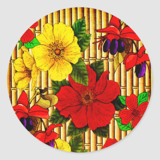 Flowers On Bamboo Classic Round Sticker