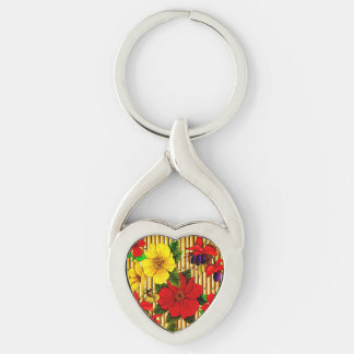 Flowers On Bamboo Silver-Colored Heart-Shaped Metal Keychain
