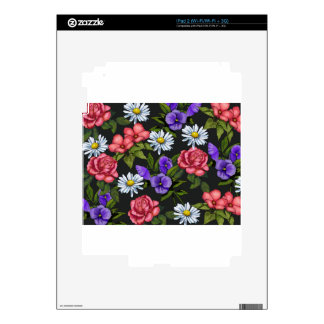 Flowers on Black Background, Original Art Decal For iPad 2