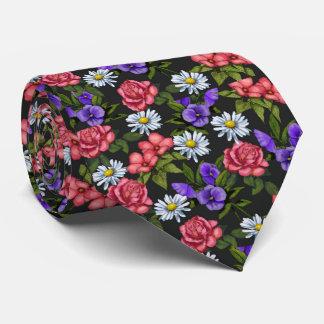 Flowers on Black Background, Original Art Tie
