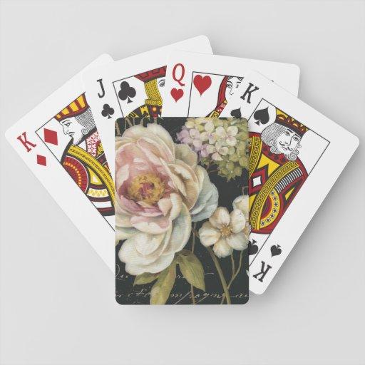 Flowers on Black Poker Deck
