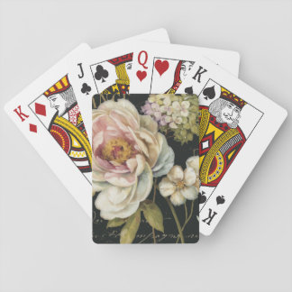Flowers on Black Playing Cards