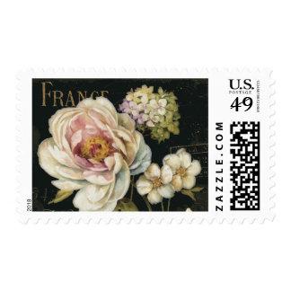 Flowers on Black Postage Stamp