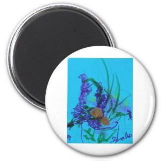 Flowers on Blue Magnet